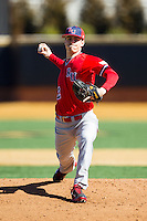 Radford Highlanders starting pitcher Dylan Nelson (12) in action against the Cincinnati Bearcats at Wake Forest Baseball Park on February 22, 2014 in Winston-Salem, North Carolina.  The Highlanders defeated the Bearcats 6-5.  (Brian Westerholt/Four Seam Images)