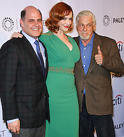 """HOLLYWOOD, LOS ANGELES, CA, USA - MARCH 21: Matthew Weiner, Christina Hendricks, Robert Morse at the 2014 PaleyFest - """"Mad Men"""" held at Dolby Theatre on March 21, 2014 in Hollywood, Los Angeles, California, United States. (Photo by Celebrity Monitor)"""