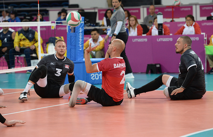 Austin Hinchey, Jesse Buckingham, and Mikael Bartholdy, Lima 2019 - Sitting Volleyball // Volleyball assis.<br /> Canada competes in men's Sitting Volleyball // Canada participe au volleyball assis masculin. 24/08/2019.