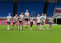 YOKOHAMA, JAPAN - JULY 30: USWNT reacts to Alyssa Naeher's second PK save during a game between Netherlands and USWNT at International Stadium Yokohama on July 30, 2021 in Yokohama, Japan.
