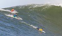 Kenny Skindog Collins, Joshy Loya, Carlos Burle. Mavericks Surf Contest in Half Moon Bay, California on February 13th, 2010.