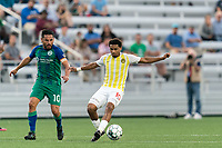 HARTFORD, CT - AUGUST 17: Zeiko Lewis #10 of Charleston Battery controls the ball during a game between Charleston Battery and Hartford Athletic at Dillon Stadium on August 17, 2021 in Hartford, Connecticut.