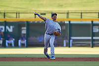 AZL Royals shortstop Enrique Valdez (4) throws to first base during an Arizona League game against the AZL Cubs 1 on June 30, 2019 at Sloan Park in Mesa, Arizona. AZL Royals defeated the AZL Cubs 1 9-5. (Zachary Lucy/Four Seam Images)