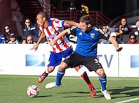 San Francisco, California - July 27, 2014: San Jose Earthquakes face off against Atletico Madrid during the Copa Euroamericana at Candlestick Park on Sunday.