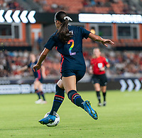 HOUSTON, TX - JUNE 13: Sophia Smith #2 of the USWNT dribbles during a game between Jamaica and USWNT at BBVA Stadium on June 13, 2021 in Houston, Texas.