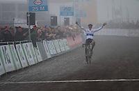 European U23 champion Quinten Hermans (BEL/U23/Telenet-Fidea) solo's to victory in the U23 race of the 2017 Belgian National CX Championships