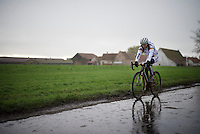 German Champion Jessica Lambracht (DEU) returning from the race in the pouring rain<br /> <br /> Duinencross Koksijde WorldCup 2015