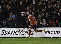 Danny Hylton of Luton Town celebrates scoring their second goal during the The Checkatrade Trophy Semi Final match between Luton Town and Oxford United at Kenilworth Road, Luton, England on 1 March 2017. Photo by Stewart  Wright  / PRiME Media Images.