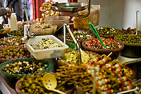 Olives on display at a vendor stall, Madrid, Spain