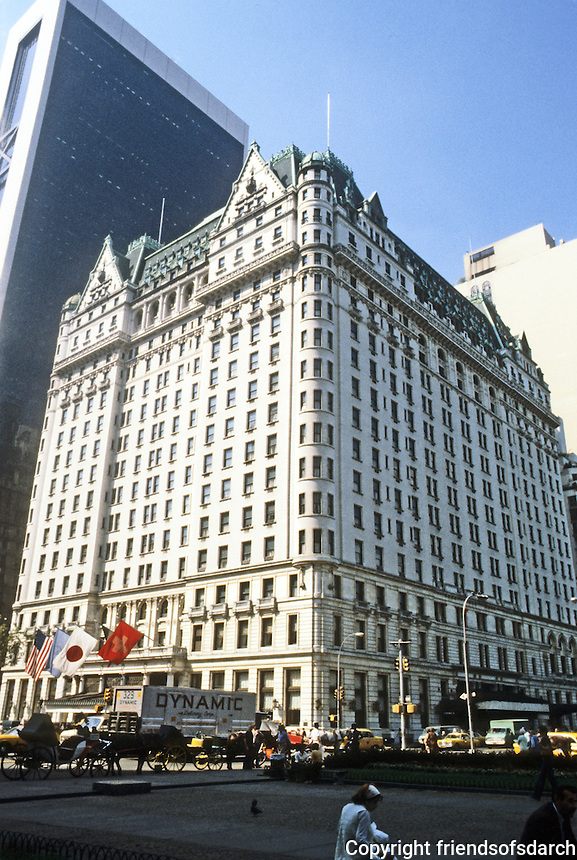 New York City: Plaza Hotel, 1907. Architects Henry J. Hardenbergh and Thomas Hastings. Late 19th & 20th C. Revival style. National Register of Historic Places 1978.