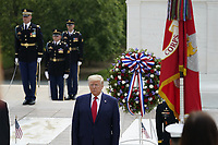 United States President Donald J Trump as he and First lady Melania Trump commemorate Memorial Day by participating in a Wreath Laying ceremony at the Tomb of the Unknown Soldiers at Arlington National Cemetery in Arlington, Virginia on Monday, May 25, 2020.<br /> Credit: Chris Kleponis / Pool via CNP/AdMedia