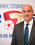 Weber Lo, Country Officer and Chief Executive Officer Hong Kong and Macau Citi, Tony Bratsanos, Chairman HKFC Soccer Sevens Organising Committee and Mark Sutcliffe, Chief Executive of Hong Kong Football Association attend the HKFC Citibank Soccer Sevens 2014 Press Conference and Official Draw on April 9, 2014 at the Hong Kong Football Club in Hong Kong, China. Photo by Victor Fraile / Power Sport Images