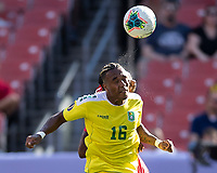 CLEVELAND, OH - JUNE 22: Neil Danns #16 heads the ball during a game between Panama and Guyana at FirstEnergy Stadium on June 22, 2019 in Cleveland, Ohio.