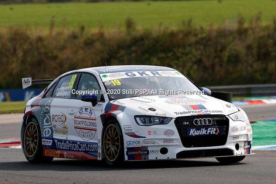 Round 5 of the 2020 British Touring Car Championship. #19 Bobby Thompson. GKR Tradepricecars.com. Audi A3.