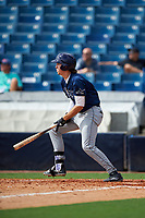 Drew Mendoza (21) of Lake Minneola High School in Minneola, Florida playing for the Tampa Bay Rays scout team during the East Coast Pro Showcase on July 28, 2015 at George M. Steinbrenner Field in Tampa, Florida.  (Mike Janes/Four Seam Images)