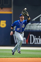 Biloxi Shuckers outfielder Michael Reed (17) catches a fly ball during the first game of a double header against the Pensacola Blue Wahoos on April 26, 2015 at Pensacola Bayfront Stadium in Pensacola, Florida.  Biloxi defeated Pensacola 2-1.  (Mike Janes/Four Seam Images)