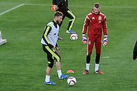 Spanish National Team's  training at Ciudad del Futbol stadium in Las Rozas, Madrid, Spain. In the pic: Sergio Ramos and De Gea. March 25, 2015. (ALTERPHOTOS/Luis Fernandez) /NORTEphoto.com