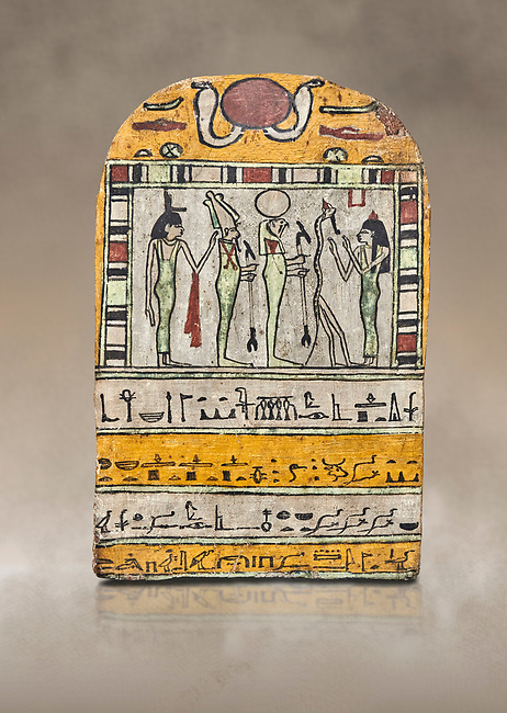 "Ancient Egyptian stele dedicated to Osiris by Neskhonsu,  Late Period, 25th Dynasty, (722-664 BC), Thebes, Cat 1596. Egyptian Museum, Turin. <br /> <br /> The round topped stele dedicated by Osiris to Neskhonsu, daaughter of Nespernebu, ""gogs father"" of Amon. Gifted by the Cairo Museum"