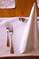 restaurant table with forks and napkin wistub du sommelier bergheim alsace france