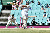 11th January 2021; Sydney Cricket Ground, Sydney, New South Wales, Australia; International Test Cricket, Third Test Day Five, Australia versus India; Cheteshwar Pujara of India  pull for four runs