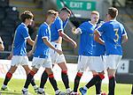 17.07.2021 Rangers B v Bo'ness Utd: Robbie Ure mobbed after scoring for Rangers