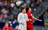 CARSON, CA - FEBRUARY 9: Ali Krieger #11 of USA and Christine Sinclair #12 of Canada battle in the air during a game between Canada and USWNT at Dignity Health Sports Park on February 9, 2020 in Carson, California.