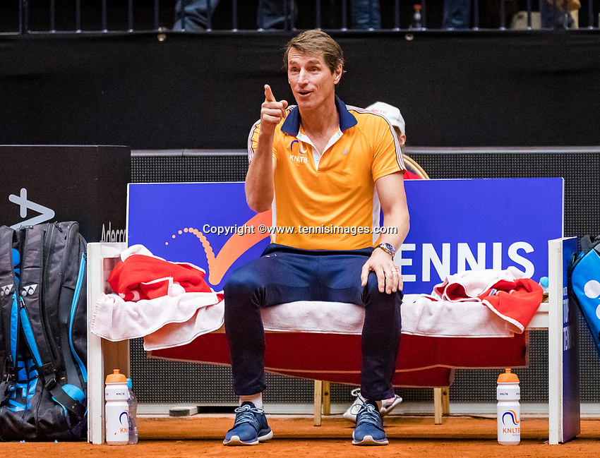 Den Bosch, The Netherlands, Februari 10, 2019,  Maaspoort , FedCup  Netherlands - Canada, doubles match Sunday : Captain Paul Haarhuis (NED)<br /> Photo: Tennisimages/Henk Koster