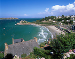 France, Brittany, Perros Guirec: View over beach resort