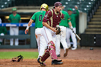 Florida State Seminoles catcher Cal Raleigh (35) reacts after tagging out Jake Shepski (0) of the Notre Dame Fighting Irish at home plate to end the top of the 11th innings during Game Four of the 2017 ACC Baseball Championship at Louisville Slugger Field on May 24, 2017 in Louisville, Kentucky.  The Seminoles walked-off the Fighting Irish 5-3 in 12 innings. (Brian Westerholt/Four Seam Images)