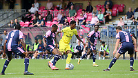 Paris Maghoma of Brentford B takes on the Dulwich Hamlet defence during Dulwich Hamlet vs Brentford B, Friendly Match Football at Champion Hill Stadium on 31st July 2021
