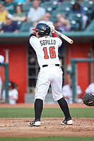 Andres Sotillo (16) of the Lansing Lugnuts at bat against the South Bend Cubs at Cooley Law School Stadium on June 15, 2018 in Lansing, Michigan. The Lugnuts defeated the Cubs 6-4.  (Brian Westerholt/Four Seam Images)