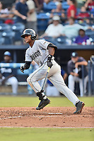 Augusta GreenJackets second baseman Jalen Miller (5) swings at a pitch during a game against the Asheville Tourists at McCormick Field on August 5, 2016 in Asheville, North Carolina. The Tourists defeated the GreenJackets 7-6. (Tony Farlow/Four Seam Images)