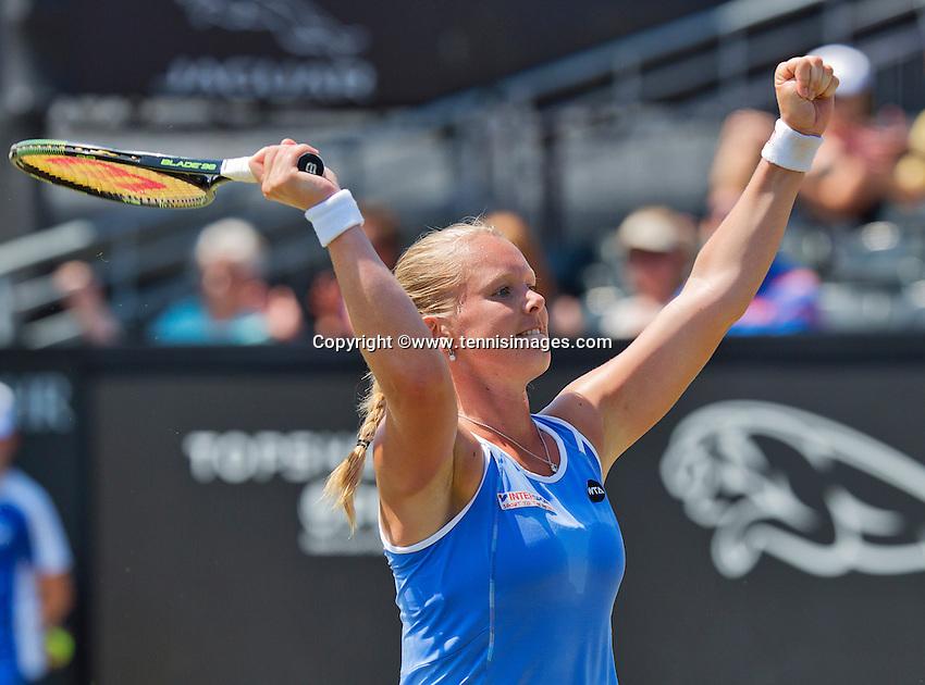 Netherlands, Rosmalen , June 11, 2015, Tennis, Topshelf Open, Autotron, Kiki Bertens (NED) jubilates her victory over Pavlyuchenkova<br /> Photo: Tennisimages/Henk Koster