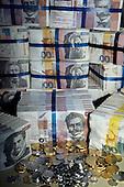 Ljubljana, Slovenia. Slovenian money - notes and coins.