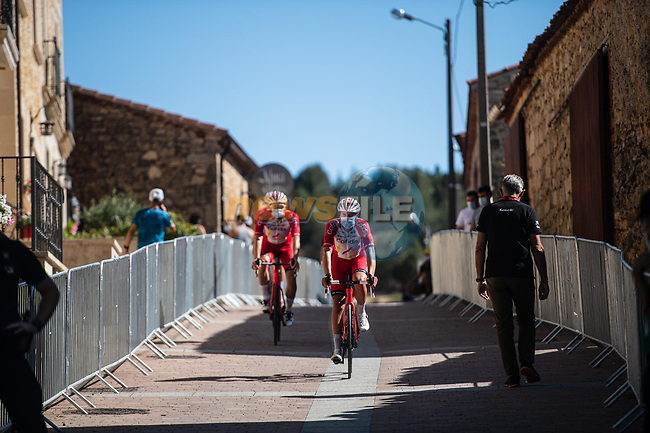 Cofidis arrive at sign on before Stage 3 of La Vuelta d'Espana 2021, running 202.8km from Santo Domingo de Silos to Picon Blanco, Spain. 16th August 2021.    <br /> Picture: Unipublic/Charly Lopez | Cyclefile<br /> <br /> All photos usage must carry mandatory copyright credit (© Cyclefile | Unipublic/Charly Lopez)