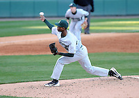 Starting pitcher David Garner (16) of the Michigan State Spartans in a game against the Furman Paladins on February 25, 2012, at Fluor Field in Greenville, South Carolina. (Tom Priddy/Four Seam Images)