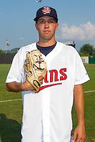 Pat Dean #46 of the Elizabethton Twins at Joe O'Brien Field August 15, 2010, in Elizabethton, Tennessee.  Photo by Brian Westerholt / Four Seam Images