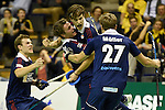 Berlin, Germany, January 31: Marco Miltkau #22 of Rot-Weiss Koeln is congratulated by teammates after scoring the winning goal during the 1. Bundesliga Herren Hallensaison 2014/15 semi-final hockey match between Rot-Weiss Koeln (dark blue) and Club an der Alster (red) on January 31, 2015 at the Final Four tournament at Max-Schmeling-Halle in Berlin, Germany. Final score 4-3 (2-2). (Photo by Dirk Markgraf / www.265-images.com) *** Local caption *** Mats Grambusch #4 of Rot-Weiss Koeln, Marco Miltkau #22 of Rot-Weiss Koeln, Mathias Mueller #27 of Rot-Weiss Koeln