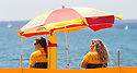 31/07/15<br /> <br /> As the summer sunshine begins to heat-up just in time for August, RNLI lifeguards keep watch on bathers on Southsea beach, Hampshire.<br /> <br /> <br /> All Rights Reserved - F Stop Press.  www.fstoppress.com. Tel: +44 (0)1335 418629 +44(0)7765 242650