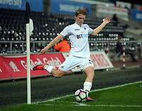 Pictured: George Byers of Swansea City takes a corner kick Monday 15 May 2017<br />Re: Premier League Cup Final, Swansea City FC U23 v Reading U23 at the Liberty Stadium, Wales, UK