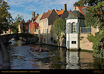 Canal Scene: Tourist Boat on the Groenerei, Bruges, Brugge, Belgium