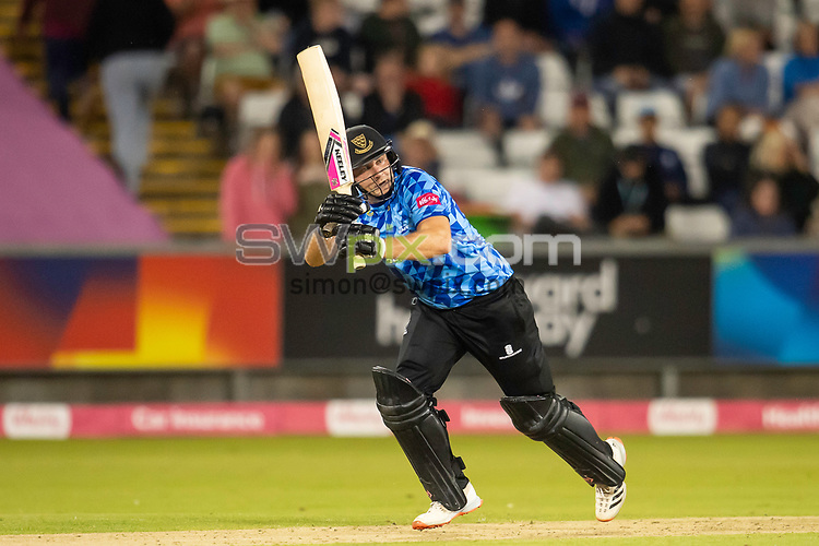 Picture by Allan McKenzie/SWpix.com - 24/08/2021 - Cricket - Vitality Blast Quarter Final - Yorkshire Vikings v Sussex Sharks - Emirates Durham ICG, Chester-le-Street, England - Sharks's Luke Wright hits out against the Vikings on his way to a half century..