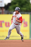 Brooklyn Cyclones outfielder Michael Conforto (39) running the bases during a game against the Batavia Muckdogs on August 11, 2014 at Dwyer Stadium in Batavia, New York.  Batavia defeated Brooklyn 4-3.  (Mike Janes/Four Seam Images)