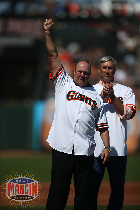 SAN FRANCISCO, CA - AUGUST 11:  Former San Francisco Giants player Will Clark waves to the crowd after hearing his #22 will be retired next season during a ceremony honoring the 1989 Giants during a 30 year team reunion before the game between the Philadelphia Phillies and San Francisco Giants at Oracle Park on Sunday, August 11, 2019 in San Francisco, California. (Photo by Brad Mangin)