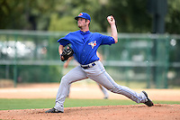 GCL Blue Jays pitcher Joe Claver (9) delivers a pitch during a game against the GCL Braves on June 27, 2014 at the ESPN Wide World of Sports in Orlando, Florida.  GCL Braves defeated GCL Blue Jays 10-9.  (Mike Janes/Four Seam Images)
