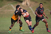 Vaughan Holdt gets tackled by Peniueti Lausi. Counties Manukau Premier Club rugby game between Te Kauwhata and Onewhero, played at Te Kauwhata on Saturday April 16th 2016. Onewhero won the game 37 - 0 after leading 13 - 0 at Halftime. Photo by Richard Spranger.