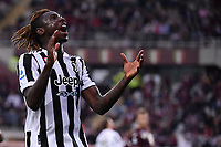 Moise Kean of Juventus FC reacts during the Serie A 2021/2022 football match between Torino FC and Juventus FC at Stadio Olimpico Grande Torino in Turin (Italy), October 2nd, 2021. Photo Federico Tardito / Insidefoto