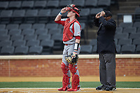Sacred Heart Pioneers catcher Trevor Fagan (35) on defense against the Wake Forest Demon Deacons at David F. Couch Ballpark on February 15, 2019 in  Winston-Salem, North Carolina.  The Demon Deacons defeated the Pioneers 14-1. (Brian Westerholt/Four Seam Images)