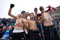 USA fans cheer at Pizza Hut Park in Frisco, Texas, Sunday, Feb. 19, 2005.  USA won 4-0.