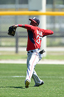 Boston Red Sox Luis Alexander Basabe (37) during practice before a minor league spring training game against the Baltimore Orioles on March 20, 2015 at Buck O'Neil Complex in Sarasota, Florida.  (Mike Janes/Four Seam Images)